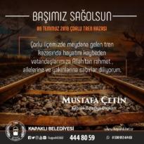 Başkan Çetin'den Çorlu Tren Kazası Mesajı