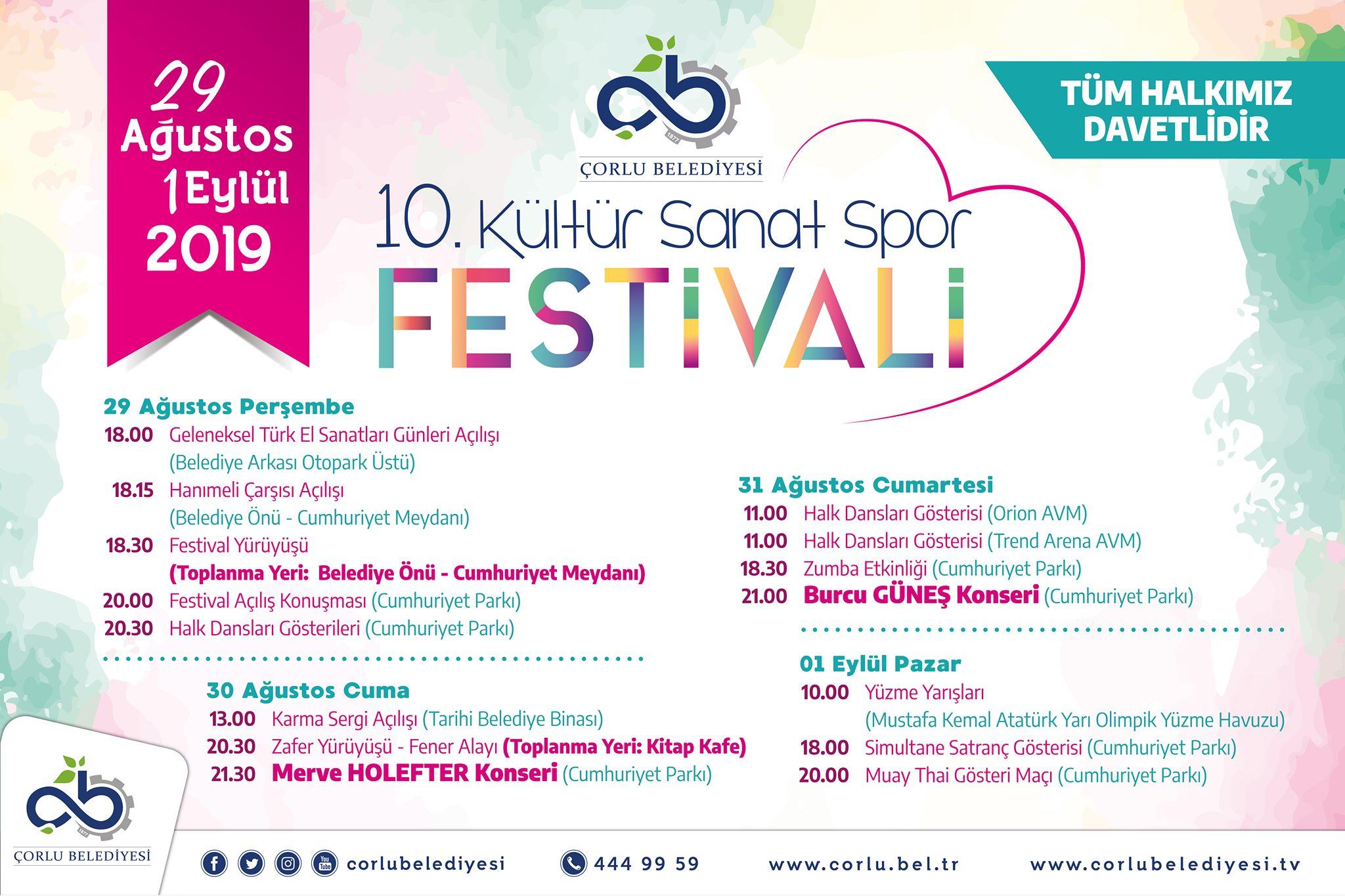 10. Kültür, Sanat ve Spor Festivali Başlıyor