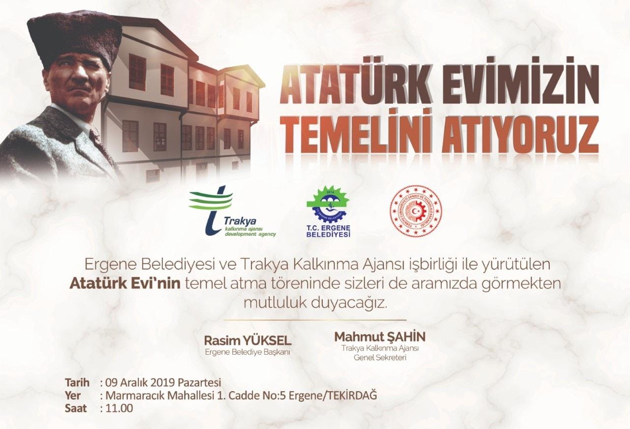 """""""Ergene Atatürk Evi"""" Projesinin Temeli Atılıyor"""
